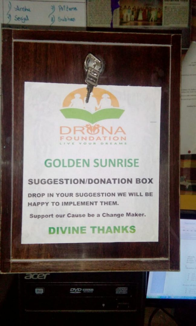 GS On Donation box at Drona Foundation at Mumbai
