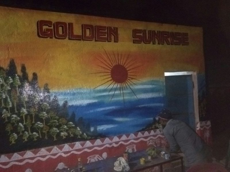 Golden Sunrise Image on PRAYAS Wall